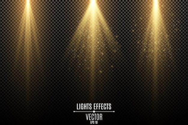 Set of golden lights effects isolated on a dark transparent background. golden rays with flying magical dust.