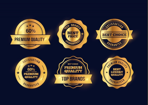 Set golden metal badges