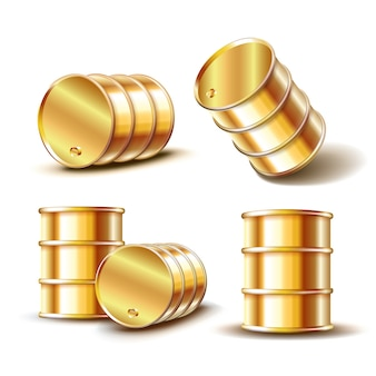 Set of golden metal oil barrel in different position  on white background.  illustration