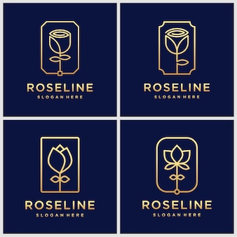 Set of golden minimalist elegant flower rose beauty, cosmetics, yoga and spa logo design inspiration.