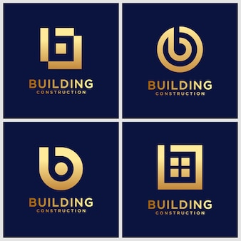 Set of golden monogram  letter b logo  inspiration