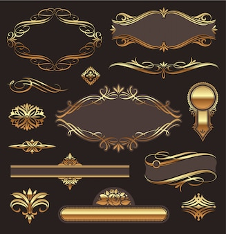 Set of golden ornate page decor elements: banners, frames, deviders, ornaments and patterns