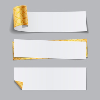 Set of golden paper banners with arabic pattern.