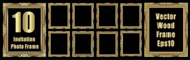 Set of golden photo frame