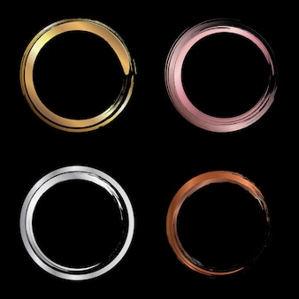 Set of golden, pink gold, silver, copper metallic circle brush strokes
