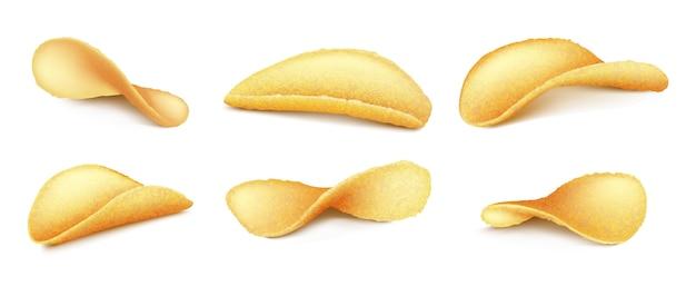 Set of golden potato chips isolated on white background