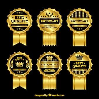 Set of golden premium badges