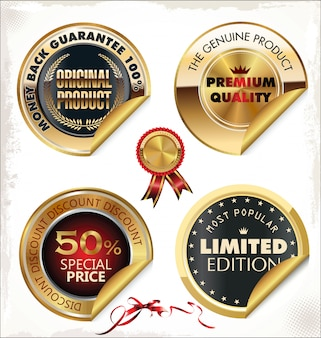Set of golden premium quality labels