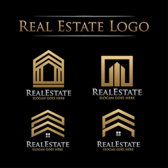 Set of golden real estate logo