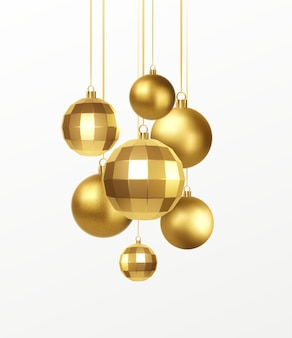 Set of golden realistic christmas decorations isolated on white background. vector illustration eps10