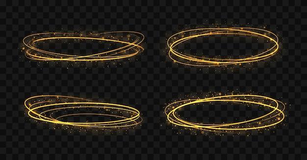 Set of golden rings gold circles frames with glitter light effect
