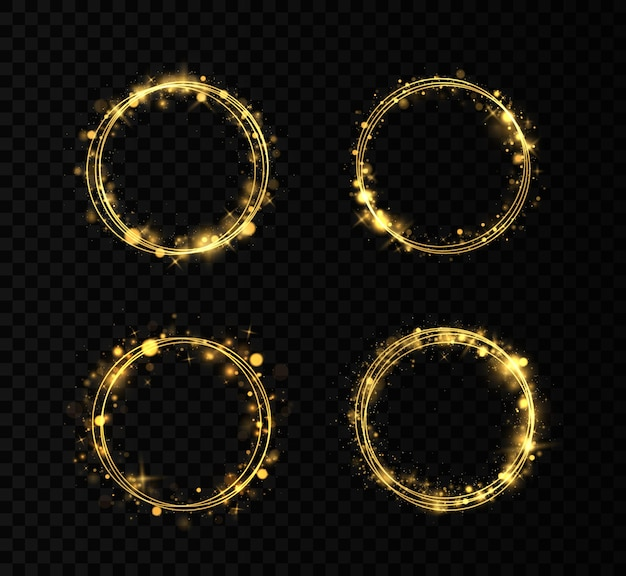 Set of golden rings. gold circles frames with glitter light effect.