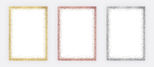 Набор рамок для конфетти из золота, розового золота и серебра с блестками