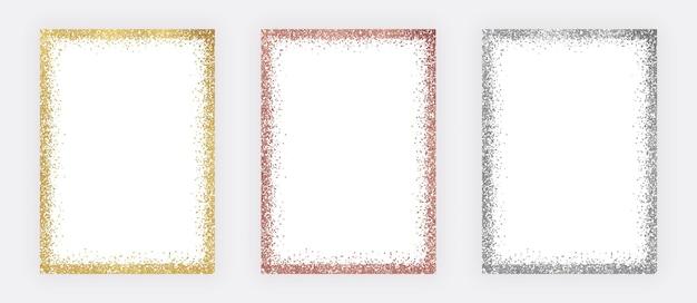 Set golden, rose gold and silver glitter confetti frames