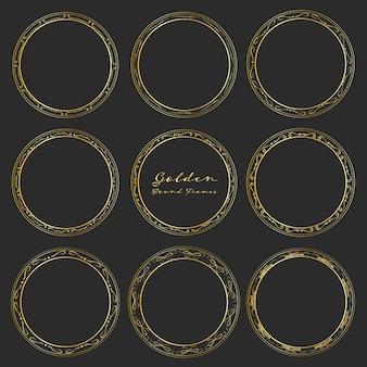 Set of golden round frames for decoration.