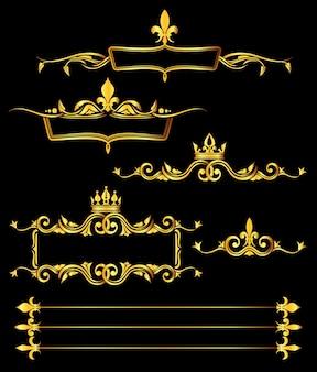 Set of golden royal frames and borders black background