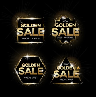 Set of golden sale tags. shopping badges, for sale, discount or marketing.