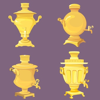 Set of golden samovars. traditional russian vintage objects.