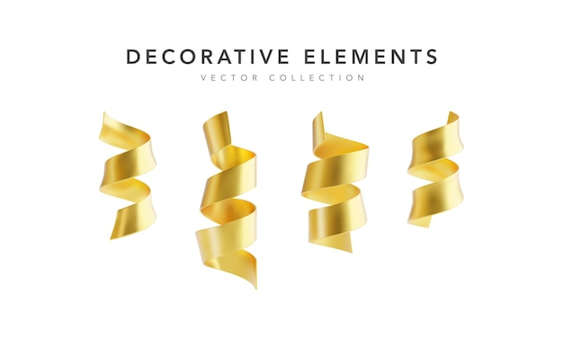 Set of golden serpantine ribbons isolated on white background.