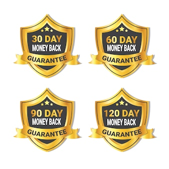 Set of golden shield money back guarantee badge isolated