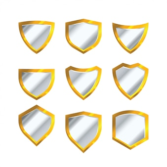 Set of golden shield vector isolated