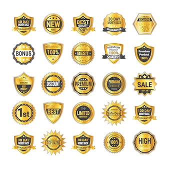 Set of golden shopping badge sale or high quality shields collection isolated