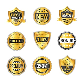 Set of golden shopping shields promotion or high quality badges collection isolated