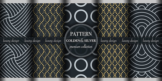 Set of golden and silver abstract geometric seamless pattern