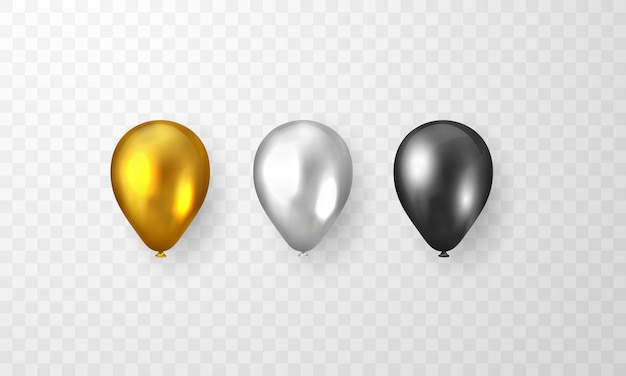 Set of golden, silver and black balloons isolated