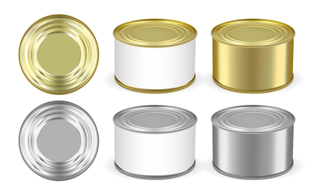 Set of golden and silver metal tin can isolated on white background