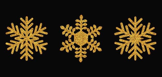 Set of golden snowflakes christmas