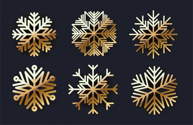 Set of golden snowflakes icons