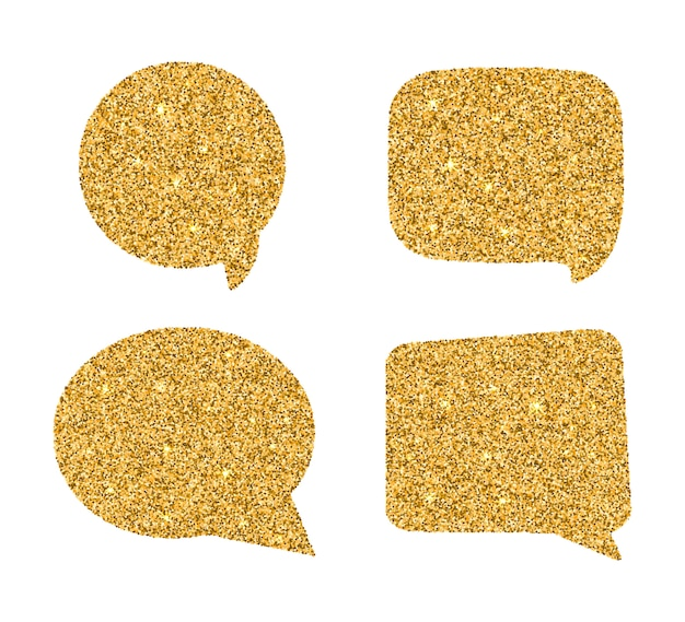 Set of golden speech bubbles.