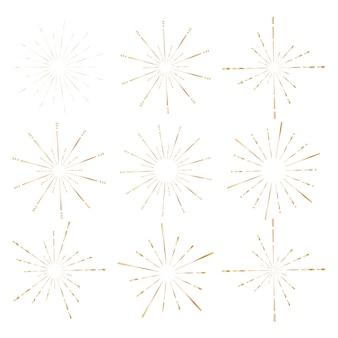 Set of golden sunburst style isolated on white background.