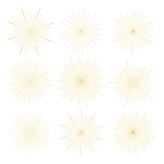 Set of golden sunburst style isolated on white background.