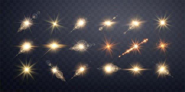 Set of golden transparent light lens flares streaks. isolated on transparent background