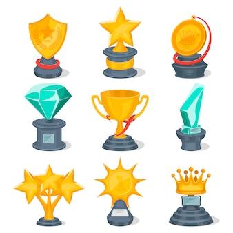 Set of golden trophy cups and awards