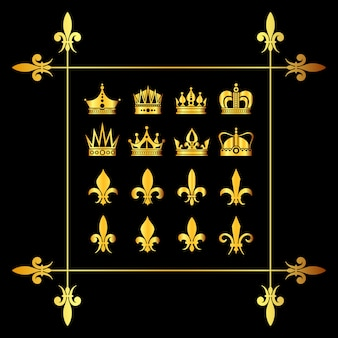 Set of golden vector crowns and fleur de lys black
