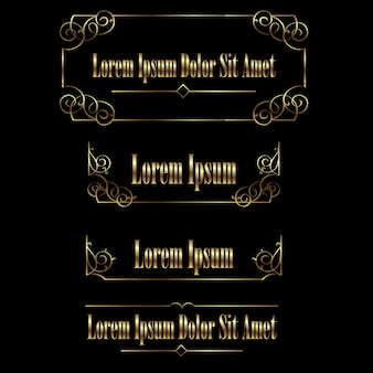 Set of golden vintage calligraphic frames borders