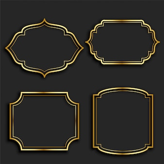 Set of golden vintage frame labels