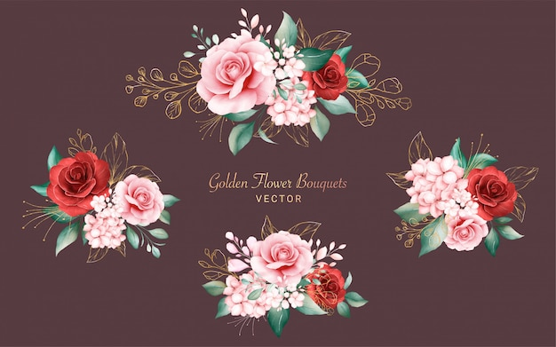 Set of golden watercolor bouquets composition. botanic decoration illustration of peach and red roses, leaves, branches, and glitter