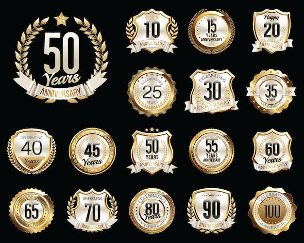 Set of golden white anniversary badges