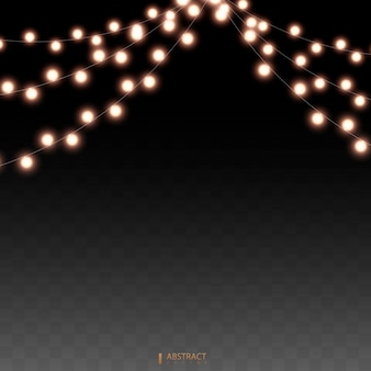 Set of golden xmas glowing garland. christmas lights isolated