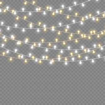 Set of golden xmas glowing garland led neon lamp new year decoration christmas lights white