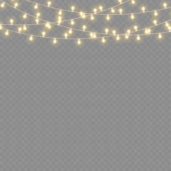 Set of golden xmas glowing garland led neon lamp new year party christmas lights decoration