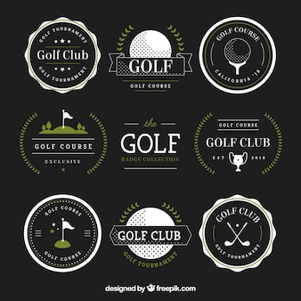 Set of golf badges in flat style