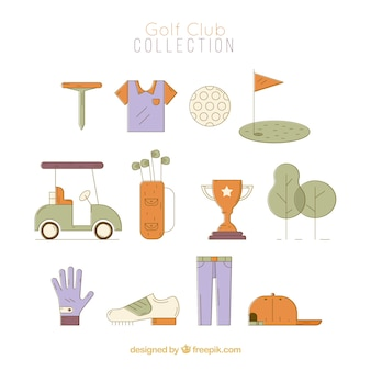 Set of golf club elements in flat style