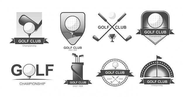 Set of  golf emblems, labels, badges or logos.