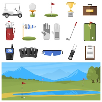 Set of golf icons isolated
