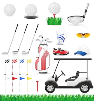 Set golf icons.
